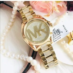 MK6487 With Box&Tags Gold Plated Lab Diamond Watch